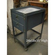 Grey Metal 2 Drawer Utility Cart