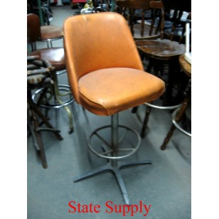 "Bar Stool 30"" high. Orange Vinyl with Foot Ring"