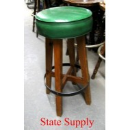 "Bar Stool 30"" high. Oak Frame with Green Vinyl Seat"