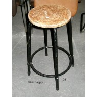 Factory Stool with Black Metal Frame