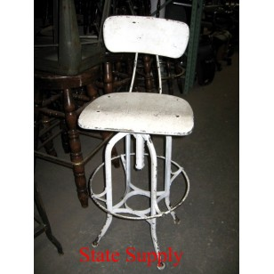 Industrial White Stool with Back