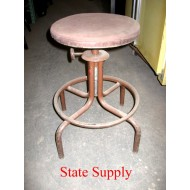 Factory Stool with Brown Cushion Seat