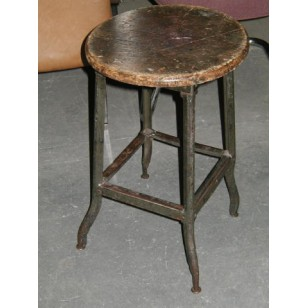 Factory Stool with Wood Seat