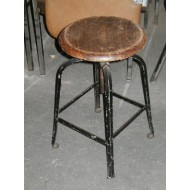 Factory Stool with Swivel Wood Seat