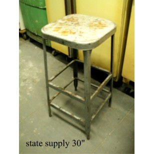 Grey Metal Stool 30""