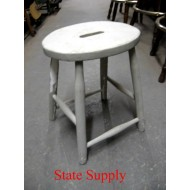 White Wood Stool with Hand Grip