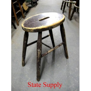 Brown Wood Stool with Hand Grip