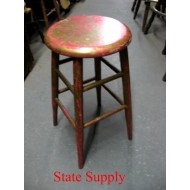 Wood Stool Gold Red
