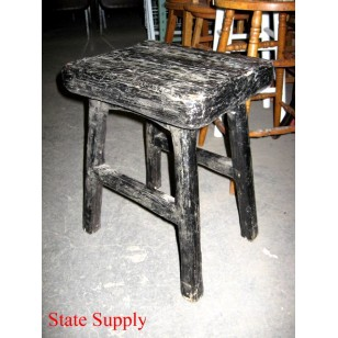 Rustic Wood Black Stool