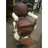 Barber Chair Maroon & White