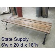 Slatted Wood 6' Park Bench with Contour Seat & Black Cast Iron Frame