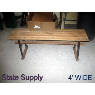 Slatted Wood Locker Room Bench 4'