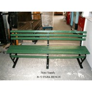 "Park Bench Slatted Green Wood 72"" (3 available)"