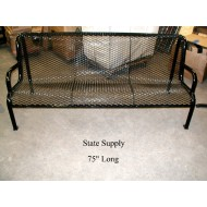 Black Expanded  Metal Bench with Arms 75""