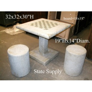 Chess Table and Stools (faux concrete) 4 available