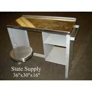 Jail Desk with attached Stool (4 Available)