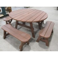 Picnic Table Redwood  Round