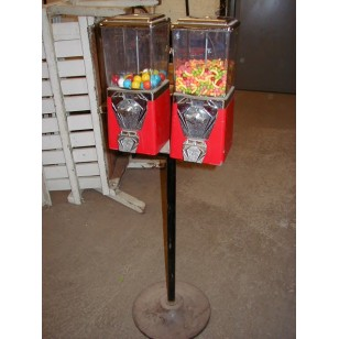 Twin Head Gumball Machine on Stand